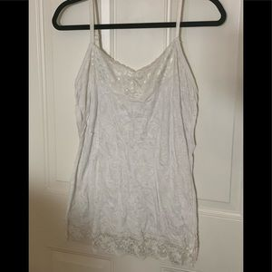 White camisole with lace on top and bottom